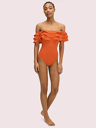 palm beach ruffle off-the-shoulder one-piece by kate spade new york non-hover view