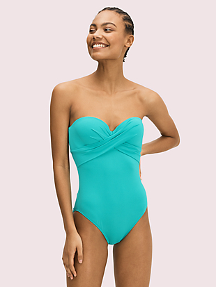 palm beach molded-cup bandeau one-piece by kate spade new york non-hover view