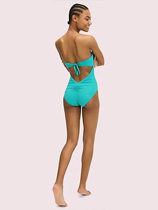 palm beach molded-cup bandeau one-piece by kate spade new york hover view
