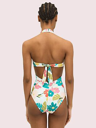 tropical floral halter one-piece by kate spade new york hover view