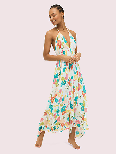 tropical floral halter cover-up maxi dress by kate spade new york