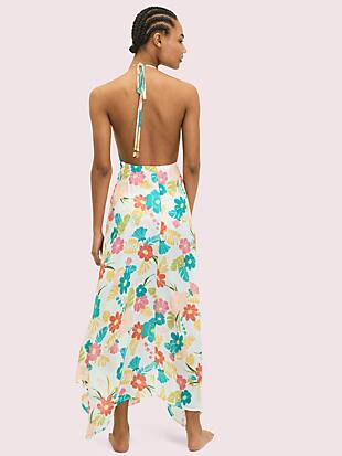 tropical floral halter cover-up maxi dress by kate spade new york hover view