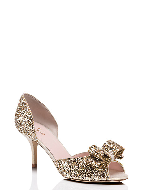 sela heels, gold glitter, large by kate spade new york