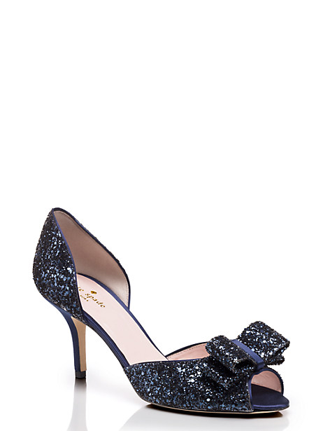 sela heels, navy glitter, large by kate spade new york