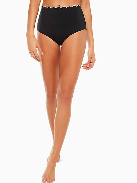 fort tilden contrast scalloped high-waist bikini bottom, black, large by kate spade new york