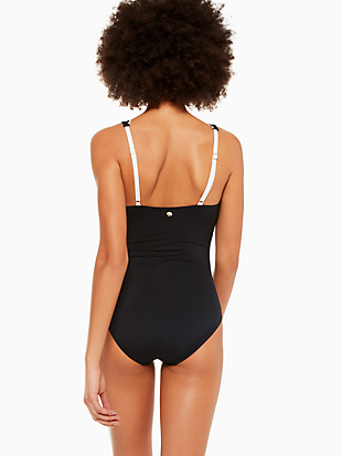 fort tilden contrast scalloped plunge one-piece by kate spade new york hover view