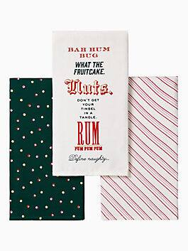 bah humbug kitchen towel set, white, medium