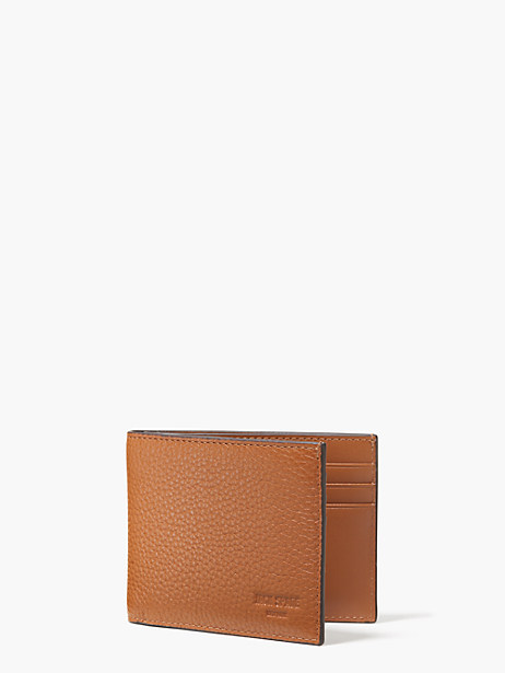 pebbled leather slim billfold, tan, large by kate spade new york
