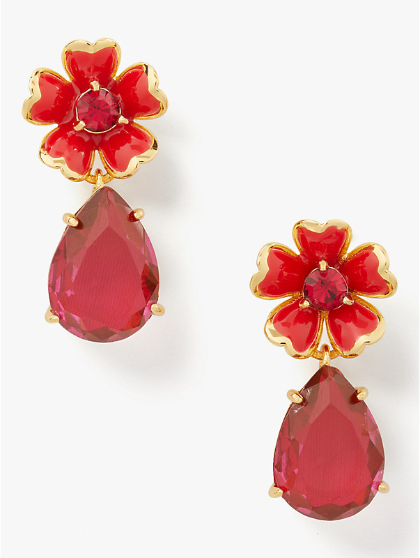 blushing blooms flower drop earrings, , rr_large