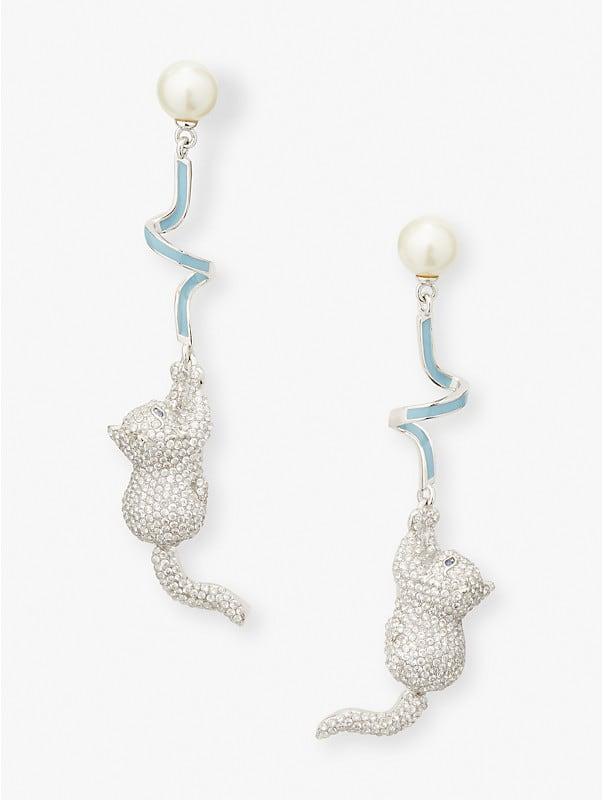 pretty kitty pavé linear earrings, , rr_large