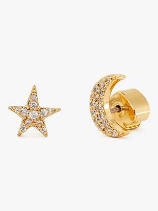 something sparkly pavé star & moon studs by kate spade new york non-hover view