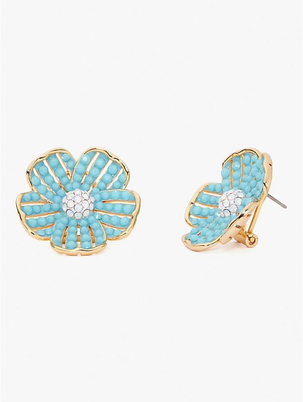 glistening petals flower statement studs, , rr_large