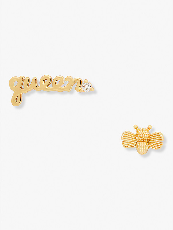 love you, mom queen bee asymmetrical studs, , rr_large