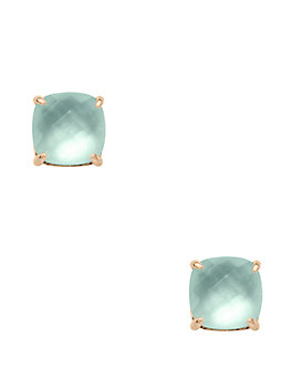 semiprecious mini small square studs, amazonite, medium