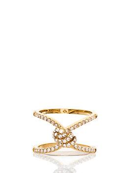 infinity & beyond pave knot ring, clear/gold, medium
