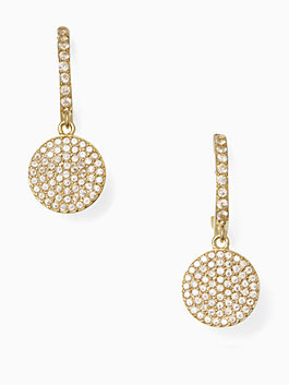 shine on pave drop earrings, clear, medium