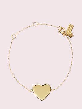 demi fine heart line bracelet, gold, medium