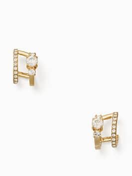 bright ideas stone double hoop earrings, clear/gold, medium