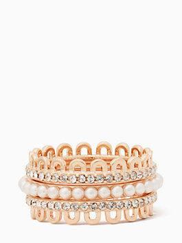 chantilly charm stackable ring set, blush multi, medium