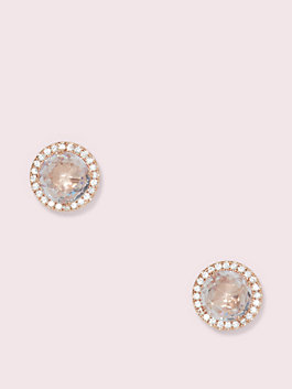 bright ideas pave halo studs, clear/rose gold, medium