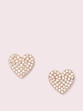 yours truly pave heart studs, clear/rose gold, medium