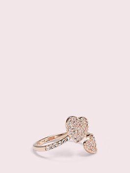 yours truly pave heart ring, clear/rose gold, medium