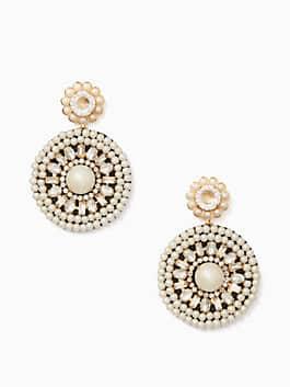 luminous leather statement earrings, cream multi, medium
