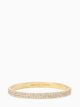 heavy metals pave row bangle, clear/gold, medium
