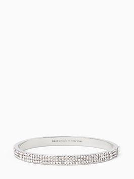 heavy metals pave row bangle, clear/silver, medium