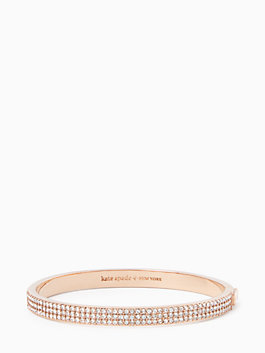 heavy metals pave row bangle, clear/rose gold, medium