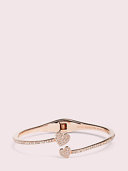 yours truly pave open hinge cuff, clear/rose gold, medium