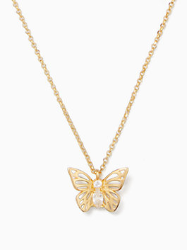 social butterfly mini pendant, clear/gold, medium
