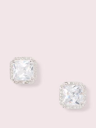 save the date pave princess cut studs by kate spade new york non-hover view