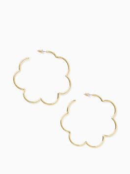 scrunched scallops large hoops, gold, medium