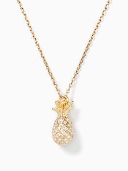 by the pool pave pineapple mini pendant, clear/gold, medium