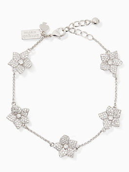 blooming pave bloom bracelet, clear/silver, medium