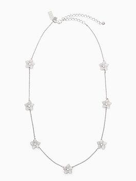 blooming pave bloom scatter necklace, clear/silver, medium