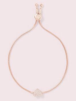 yours truly pave heart slider bracelet, clear/rose, medium