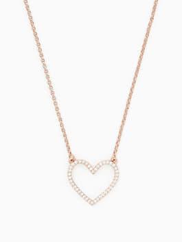 scrunched scallops pave heart mini pendant, clear/rose, medium