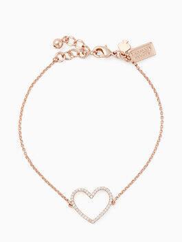 scrunched scallops pave heart bracelet, clear/rose, medium