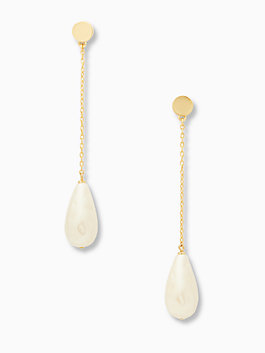 gold standard pearl linear earrings, cream multi, medium