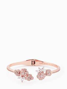 that special sparkle open hinge cuff, clear/rose gold, medium