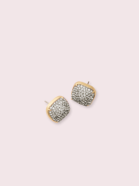 clay pave small square studs, black diamond, large by kate spade new york