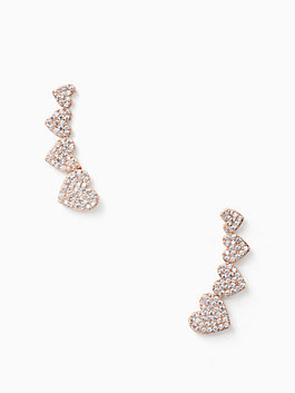 yours truly ear pins, clear/rose gold, medium