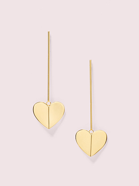 heritage spade linear earrings, gold, large by kate spade new york