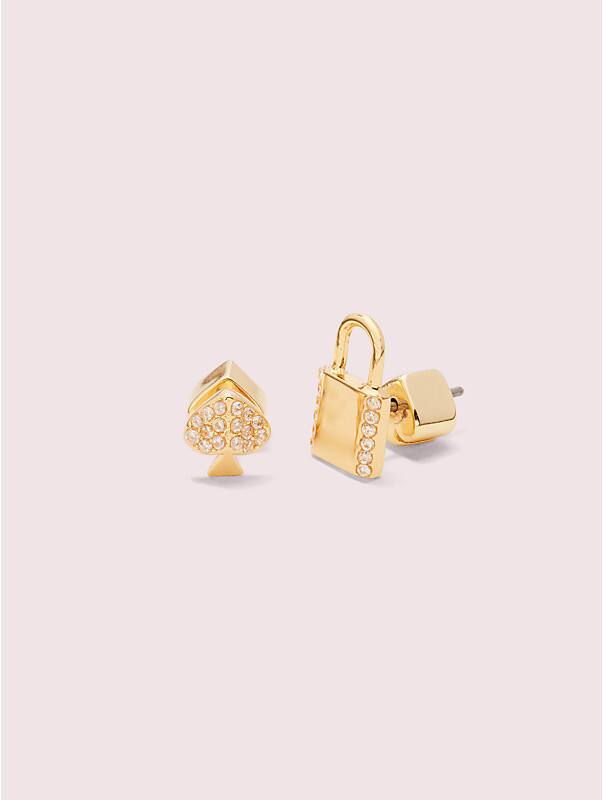 lock and spade pavé asymmetrical lock studs, , rr_large