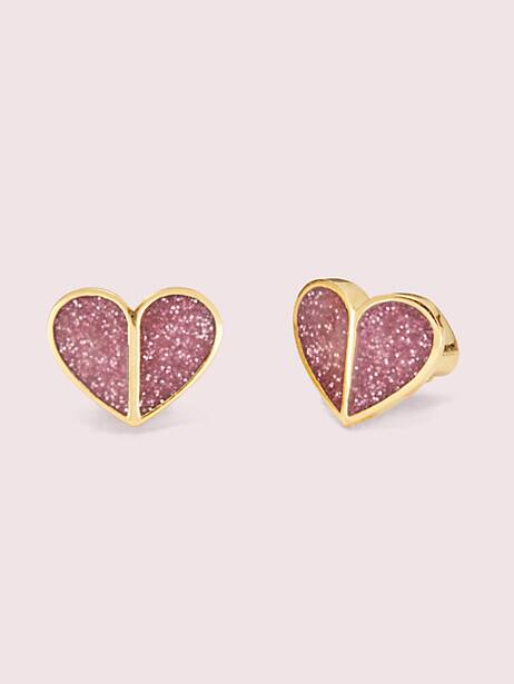 heritage spade glitter small heart studs by kate spade new york