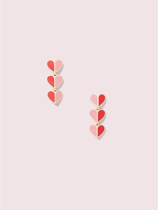 enamel heart linear earrings, , rr_large