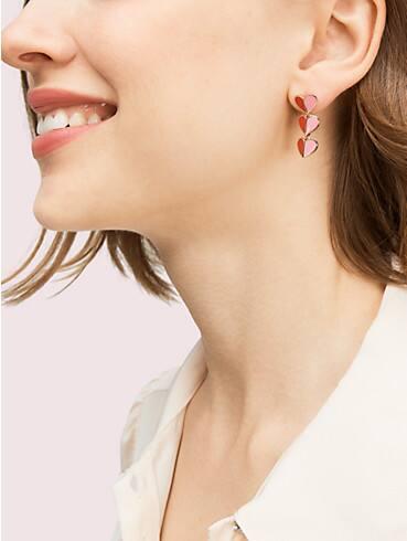 enamel heart linear earrings, , rr_productgrid