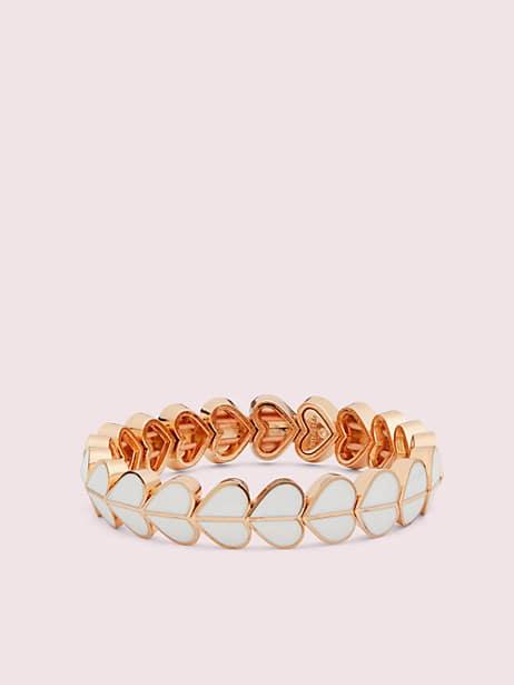heritage spade enamel heart stretch bracelet, white, large by kate spade new york